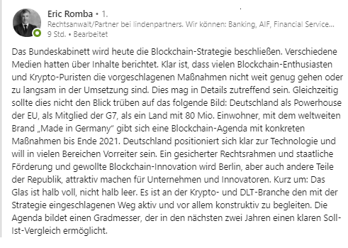 Eric Romba Blockchain Regulierung Blockchain-Strategie